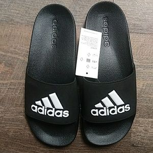 NWT. Black Adidas slides.